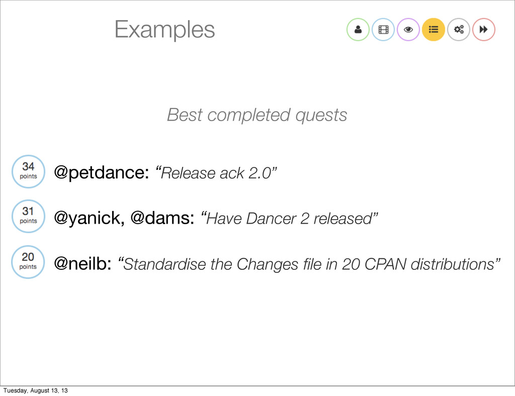 "Examples @petdance: ""Release ack 2.0"" @yanick, ..."