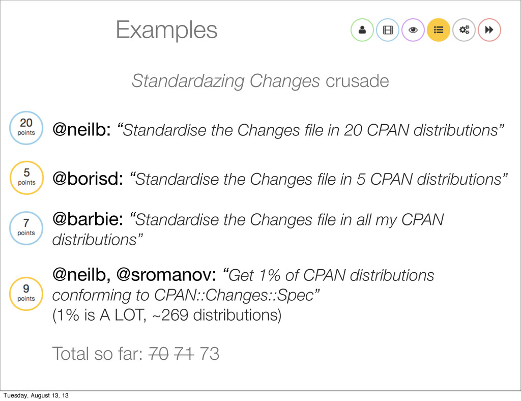 "Examples @neilb: ""Standardise the Changes file i..."
