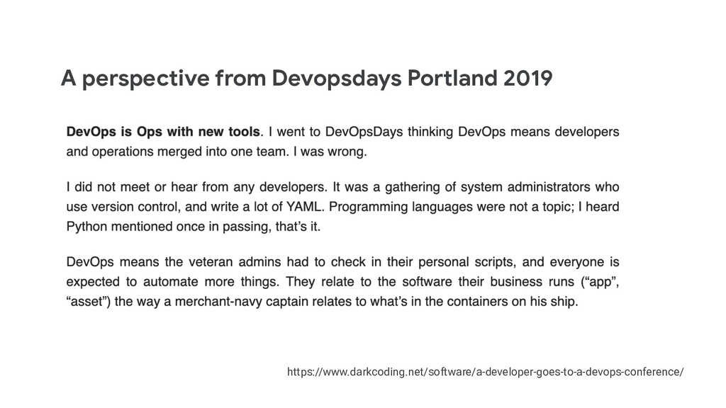 A perspective from Devopsdays Portland 2019 htt...