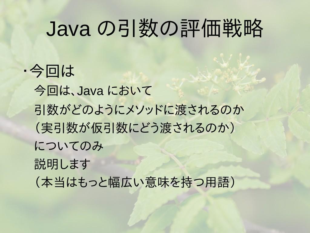 Java の引数の評価戦略 ・今回は  今回は、Java において  引数がどのようにメソッド...