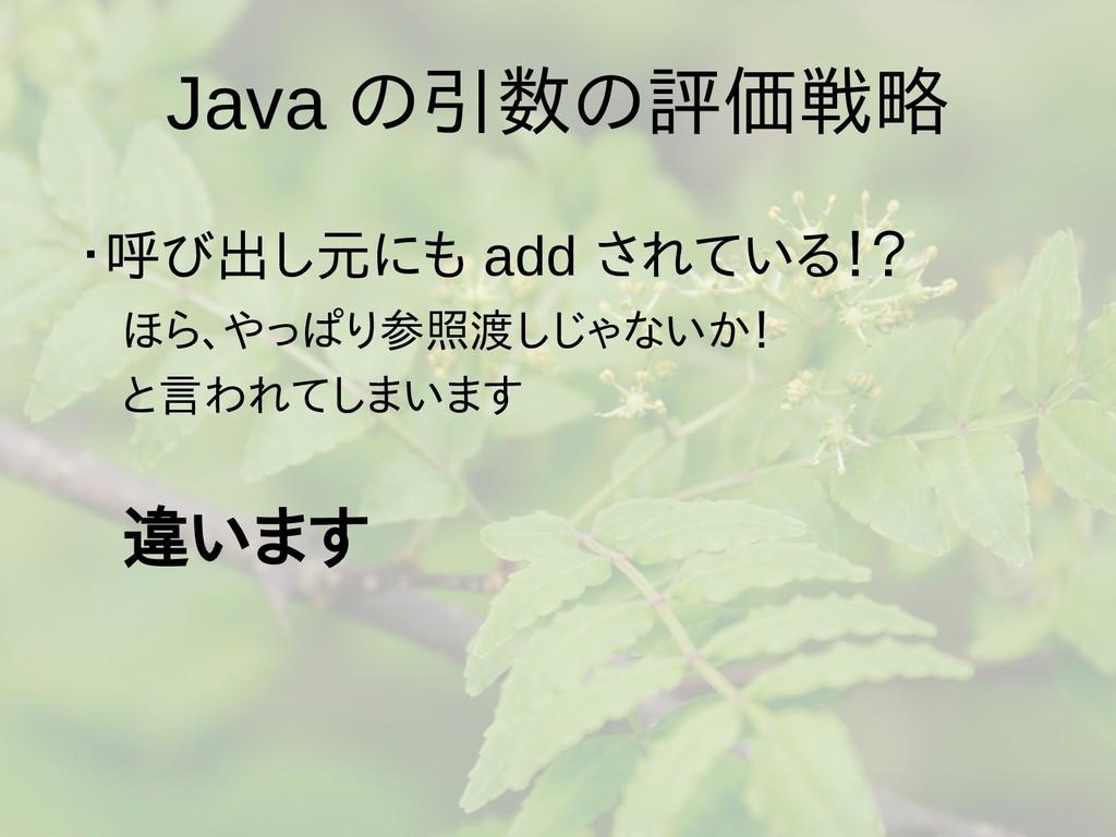 Java の引数の評価戦略 ・呼び出し元にも add されている!?  ほら、やっぱり参照渡し...