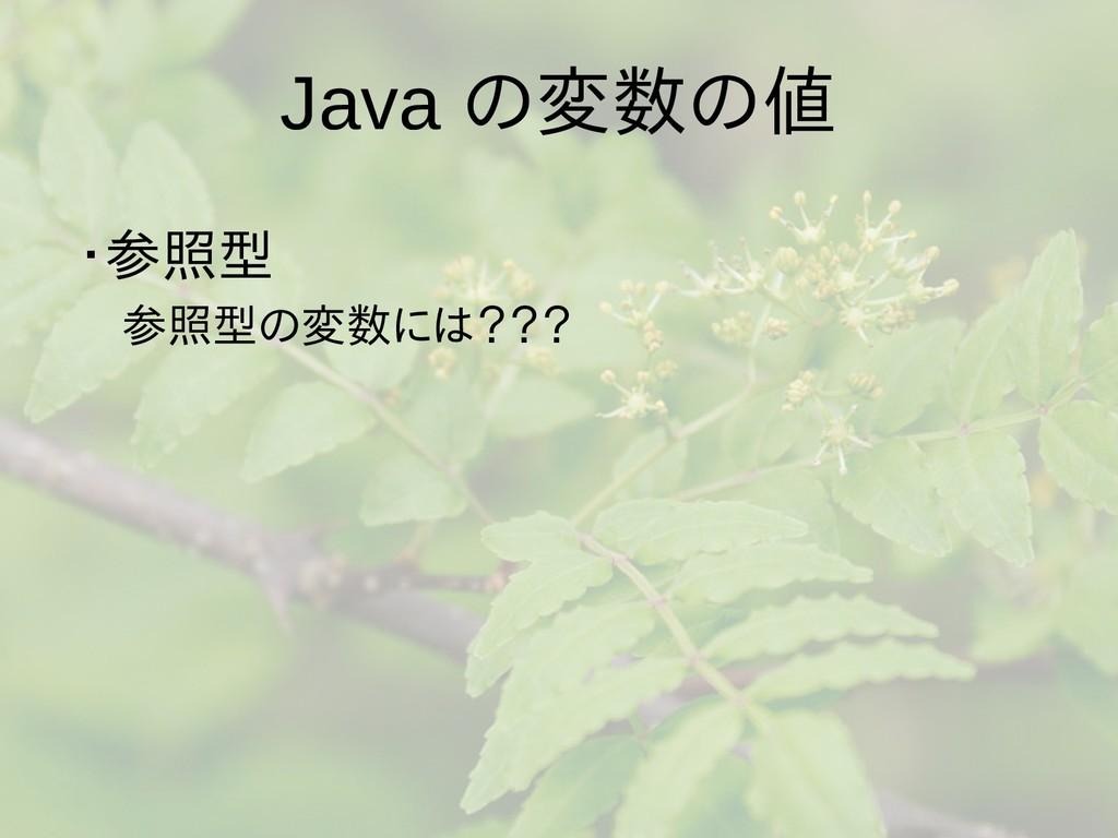 Java の変数の値 ・参照型  参照型の変数には???