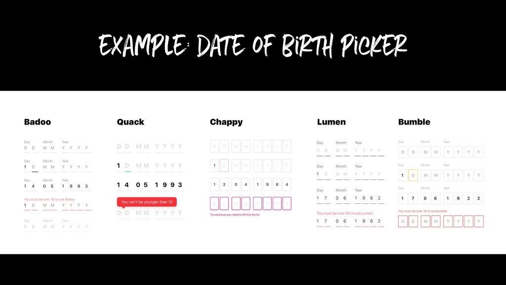 example: date of birth picker To continue you n...