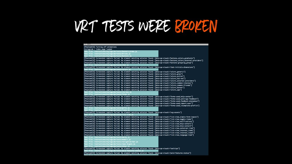 VRT tests were broken
