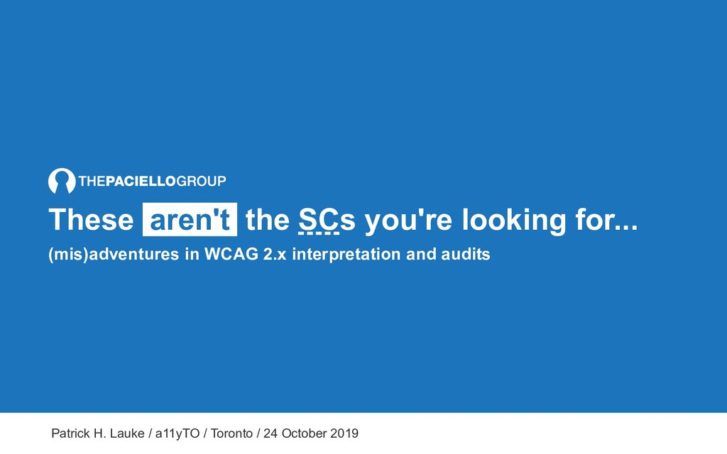 These aren't the SCs you're looking for... (mis...