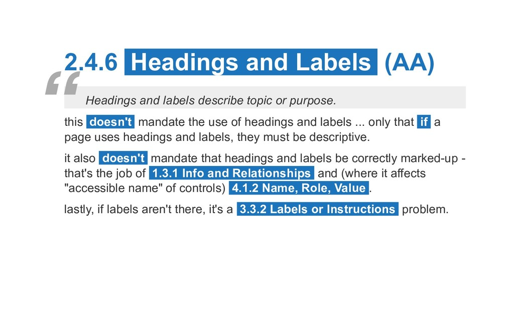 2.4.6 Headings and Labels (AA) Headings and lab...