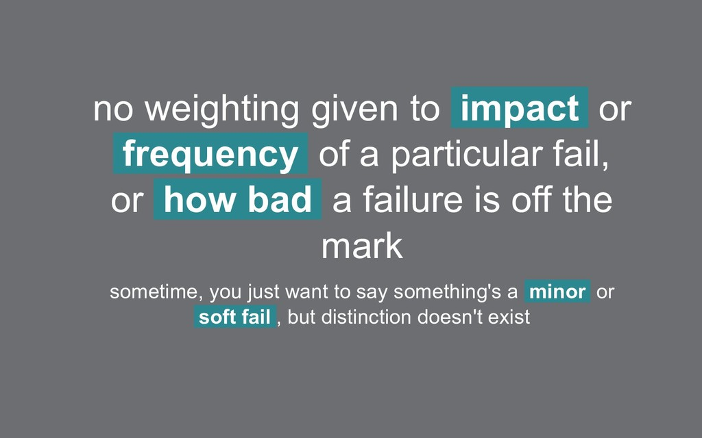 no weighting given to impact or frequency of a ...