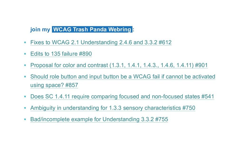 join my WCAG Trash Panda Webring : ▪ Fixes to ...