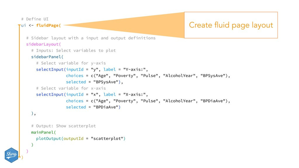 # Define UI ui <- fluidPage( # Sidebar layout w...
