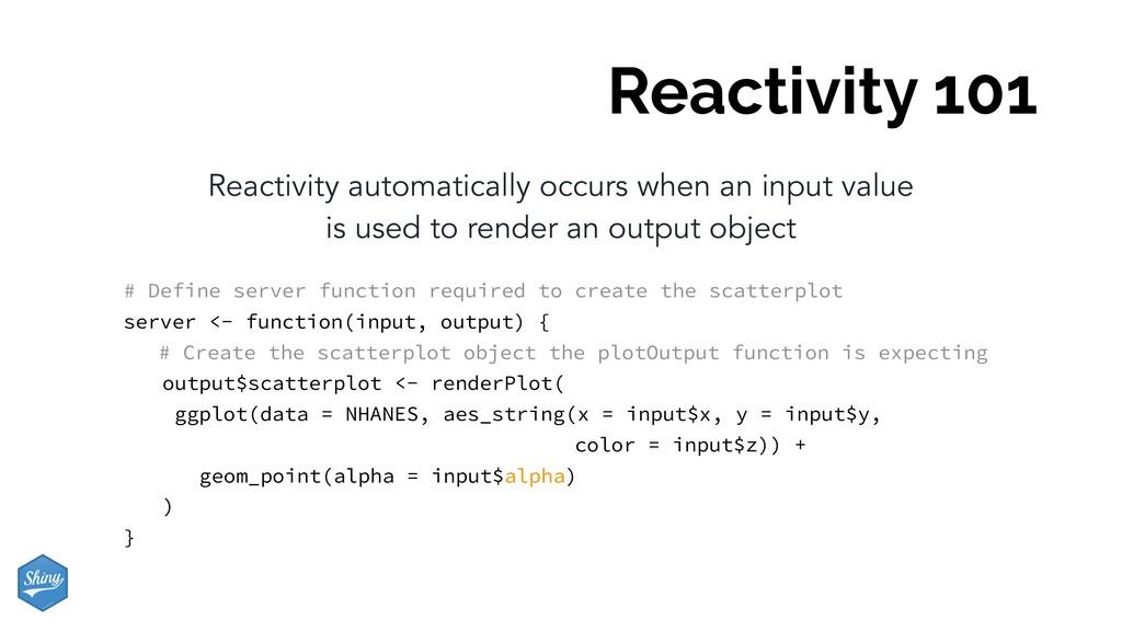 Reactivity 101 Reactivity automatically occurs ...