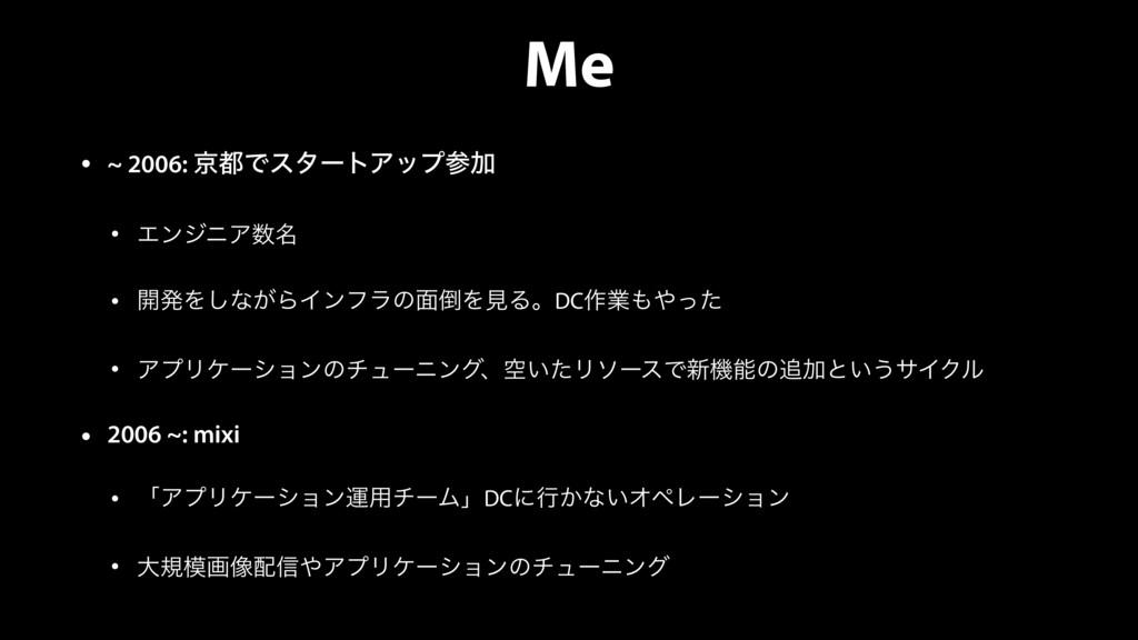Me • ~ 2006: ژͰελʔτΞοϓՃ • ΤϯδχΞ໊ • ։ൃΛ͠ͳ͕ΒΠϯ...