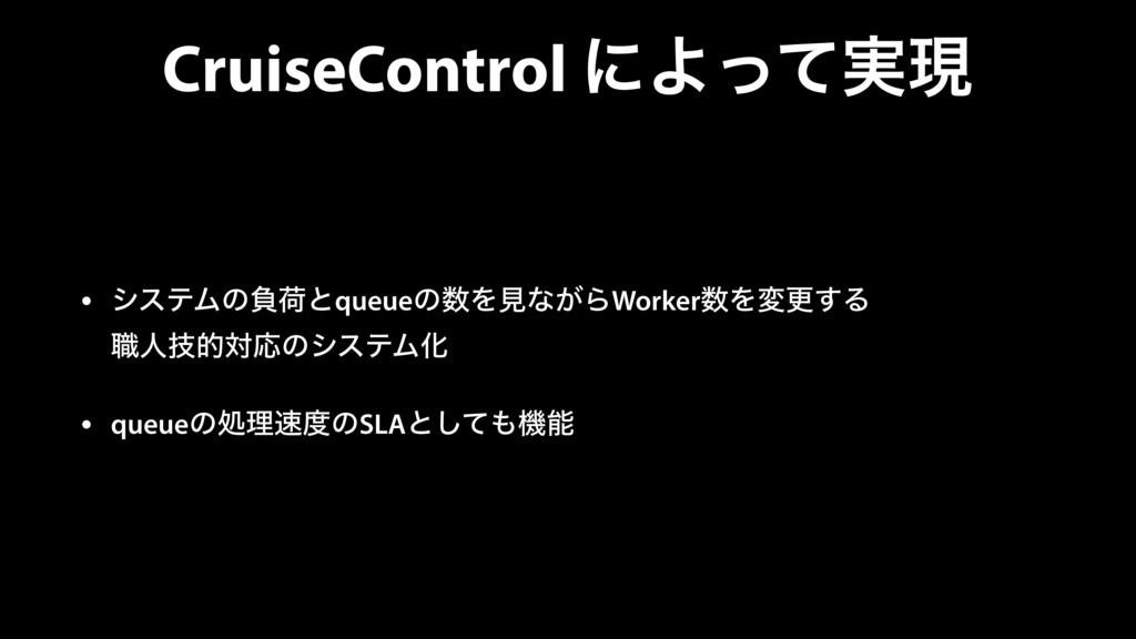 CruiseControl ʹΑ࣮ͬͯݱ • γεςϜͷෛՙͱqueueͷΛݟͳ͕ΒWork...