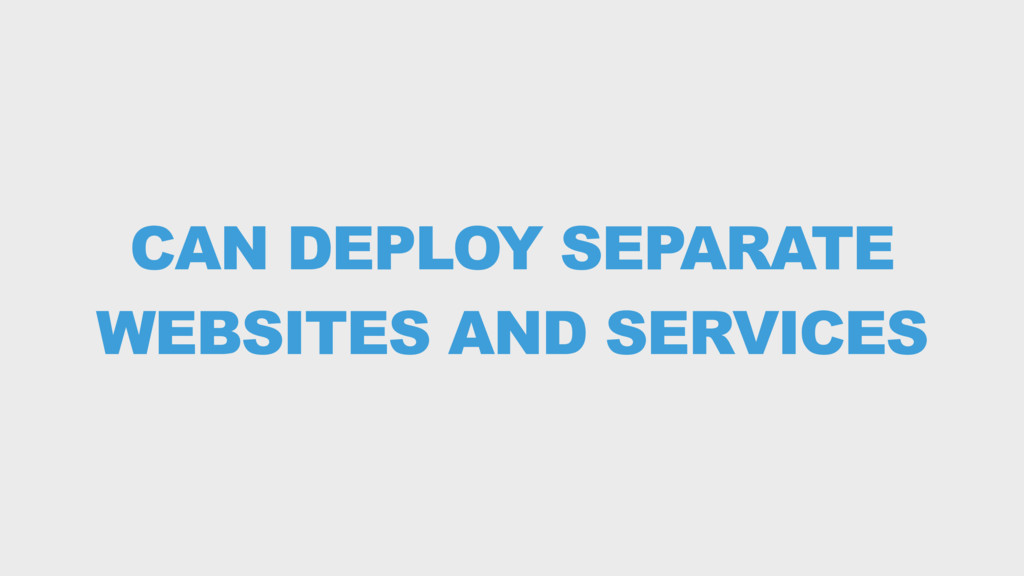 CAN DEPLOY SEPARATE WEBSITES AND SERVICES
