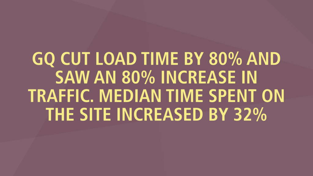 GQ CUT LOAD TIME BY 80% AND SAW AN 80% INCREASE...