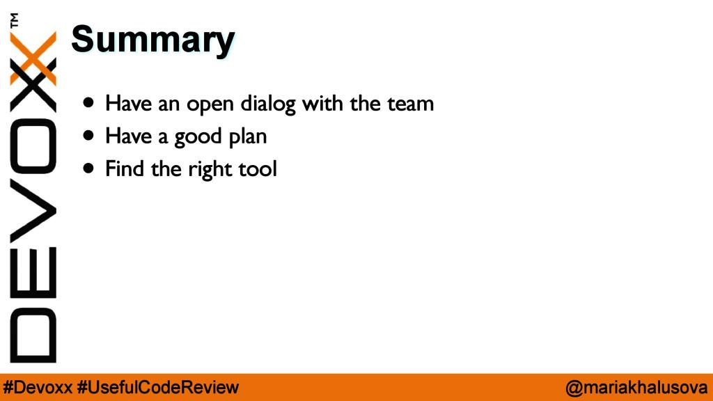@mariakhalusova #Devoxx #UsefulCodeReview Summa...