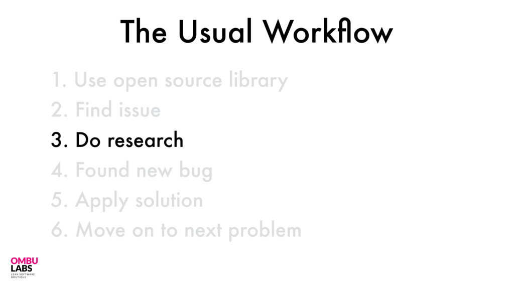 1. Use open source library 40 2. Find issue 3. ...