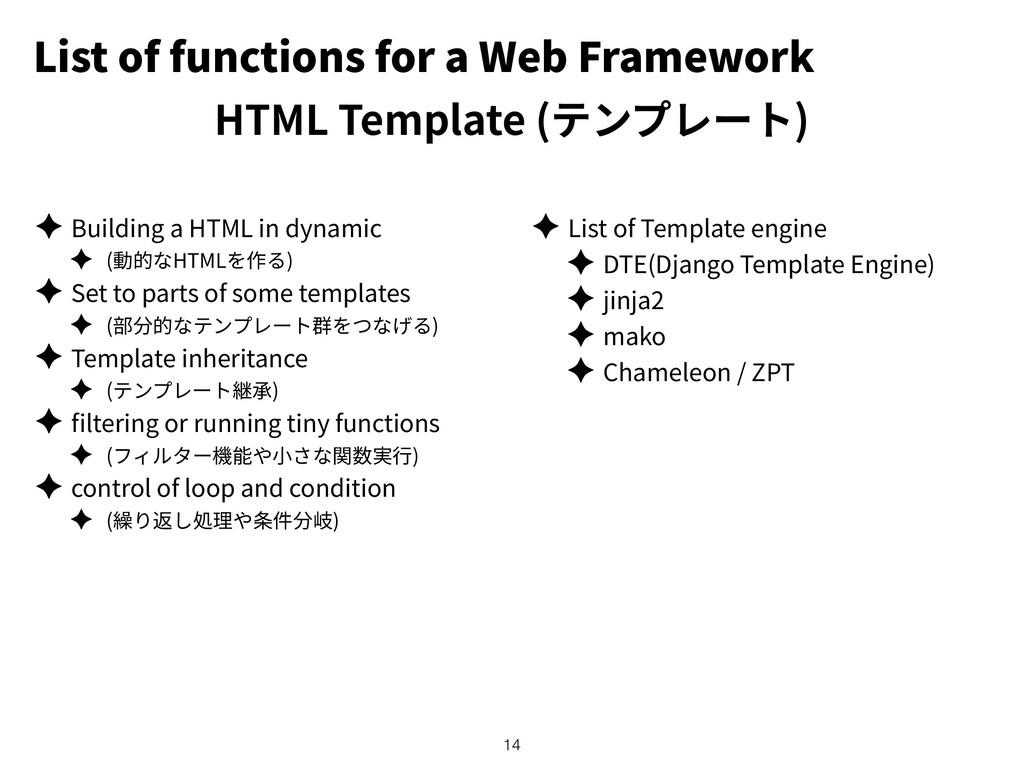 List of functions for a Web Framework HTML Temp...