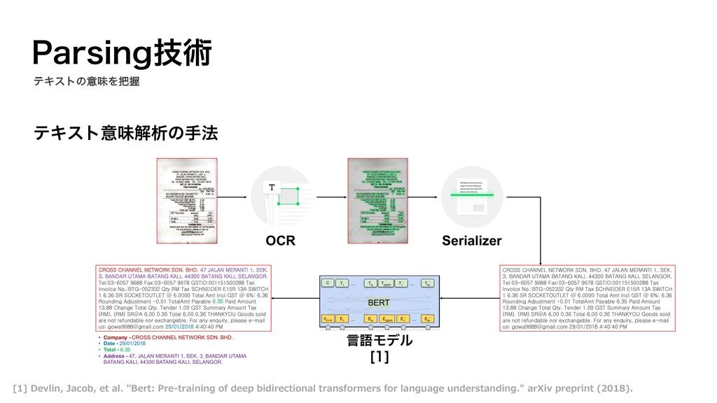 ςΩετҙຯղੳͷख๏ 1BSTJOHٕज़ ςΩετͷҙຯΛѲ OCR 言語Ϟσϧ <> ...