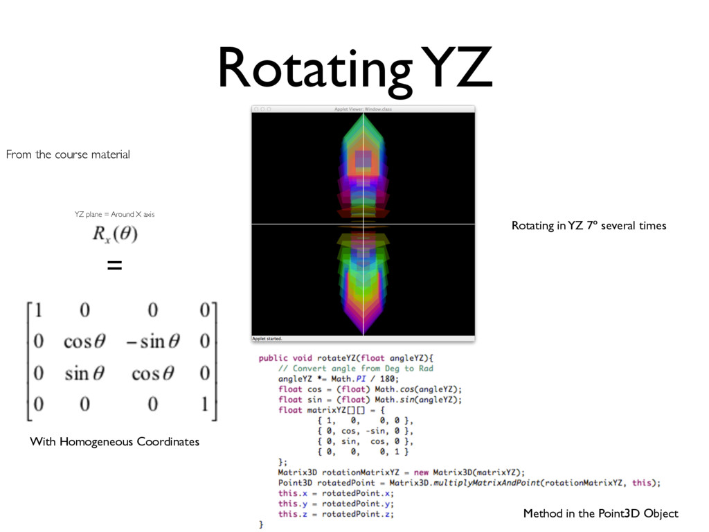 Rotating YZ From the course material = With Hom...