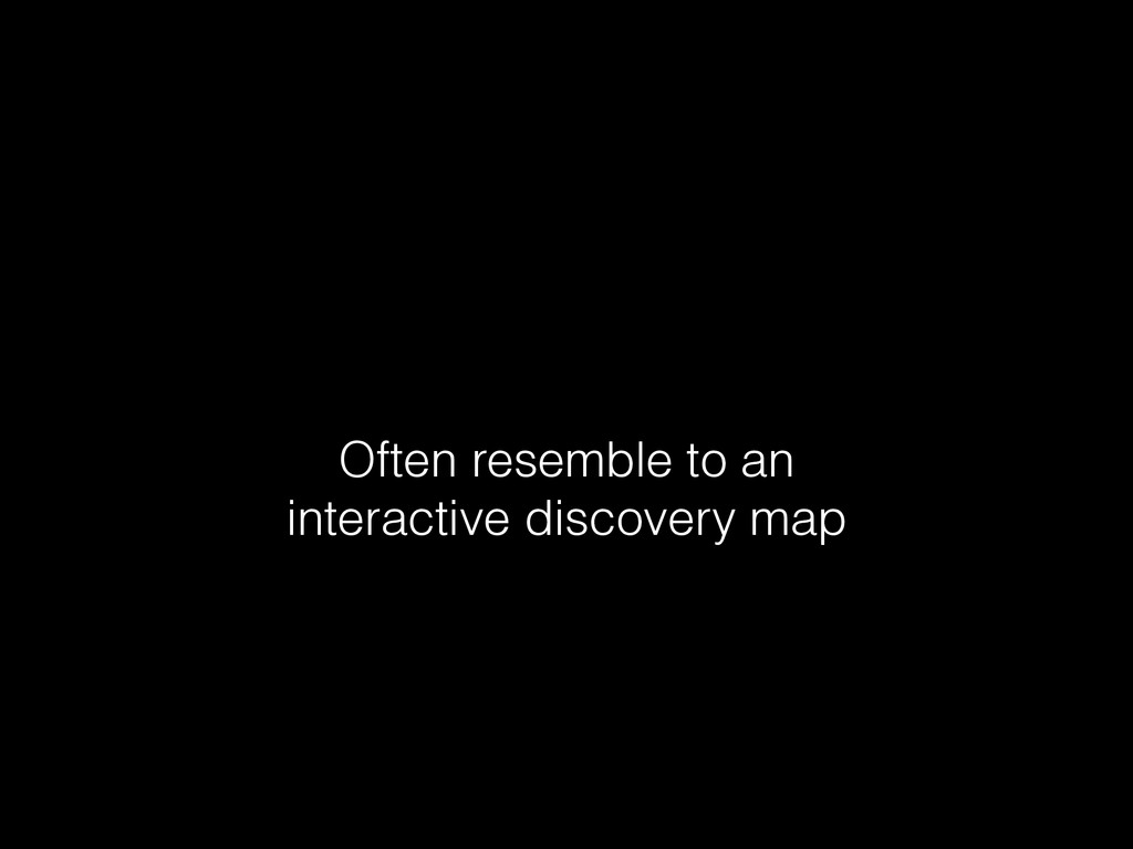 Often resemble to an interactive discovery map