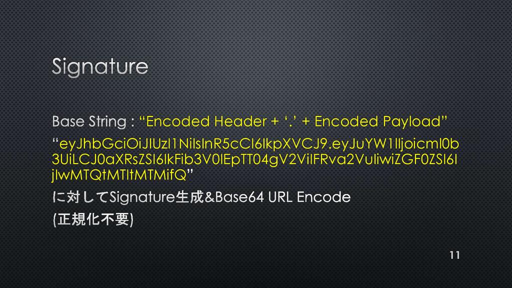 """Encoded Header + '.' + Encoded Payload"" eyJhbG..."