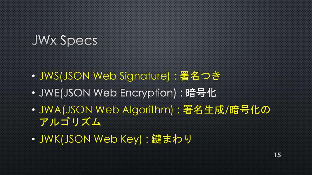 • JWS(JSON Web Signature) : 署名つき • • JWA(JSON W...