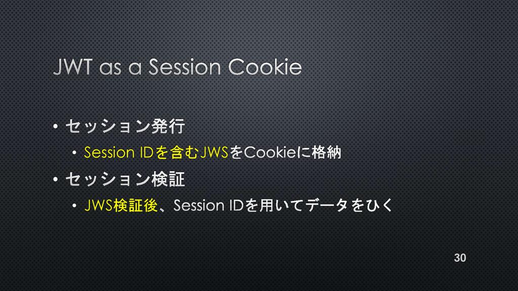 • • Session IDを含むJWS • • JWS検証後 30