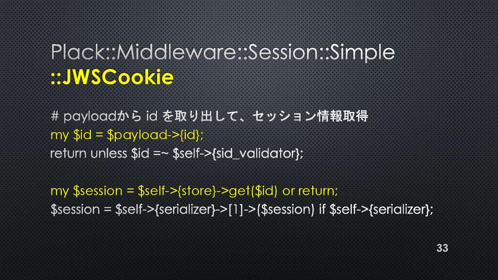 ::JWSCookie my $id = $payload->{id}; my $sessio...