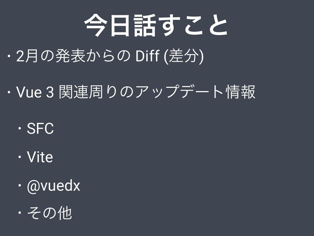 ࠓ͢͜ͱ • 2݄ͷൃද͔Βͷ Diff (ࠩ) • Vue 3 ؔ࿈पΓͷΞοϓσʔτ...