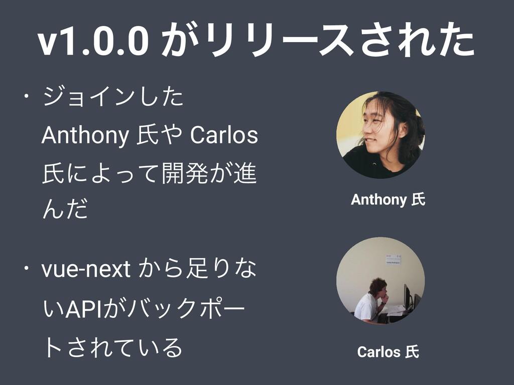 v1.0.0 ͕ϦϦʔε͞Εͨ • δϣΠϯͨ͠ Anthony ࢯ Carlos ࢯʹΑͬ...
