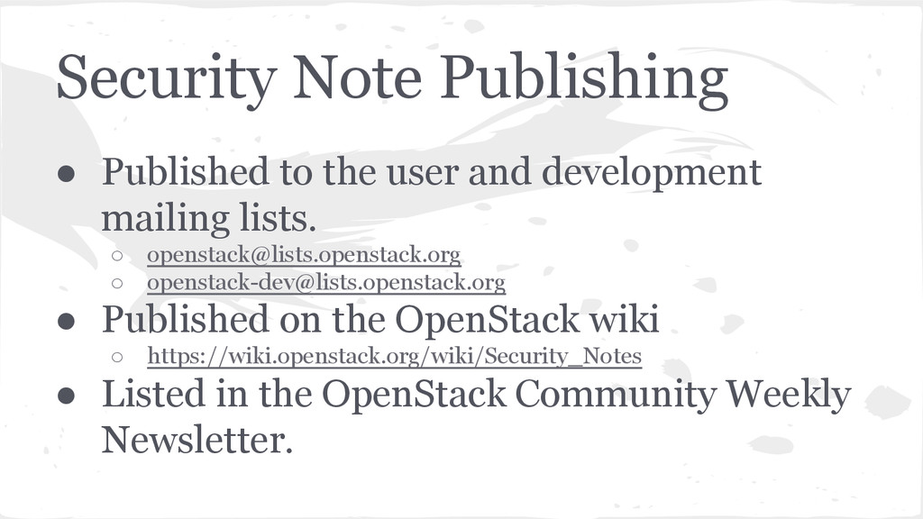 Security Note Publishing ● Published to the use...