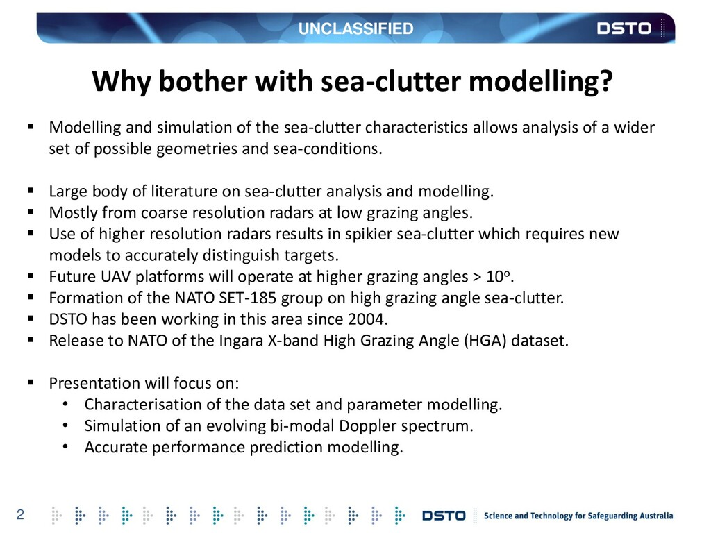 UNCLASSIFIED 2  Modelling and simulation of th...