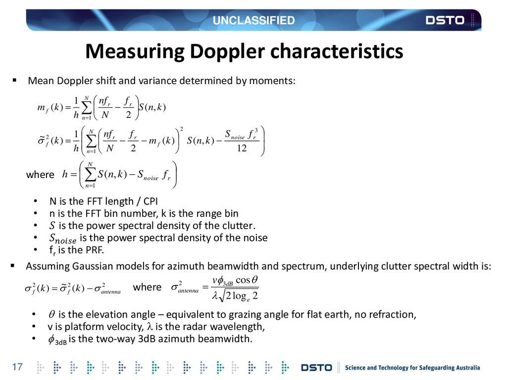 UNCLASSIFIED 17 Measuring Doppler characteristi...
