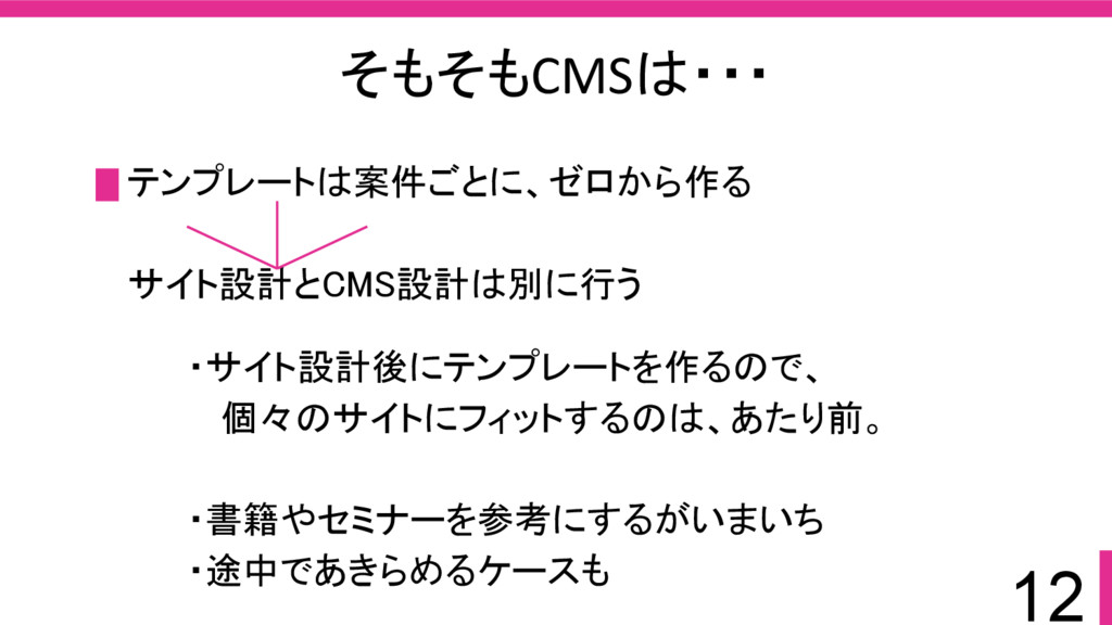 12 そもそもCMSは・・・ テンプレートは案件ごとに、ゼロから作る サイト設計とCMS設計は...