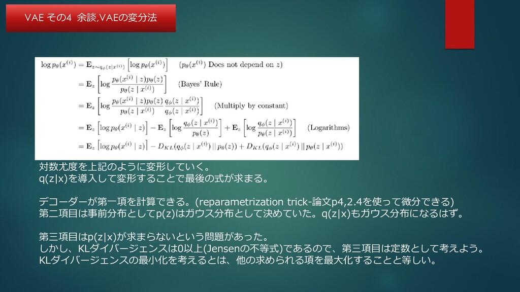 対数尤度を上記のように変形していく。 q(z|x)を導入して変形することで最後の式が求まる。 ...