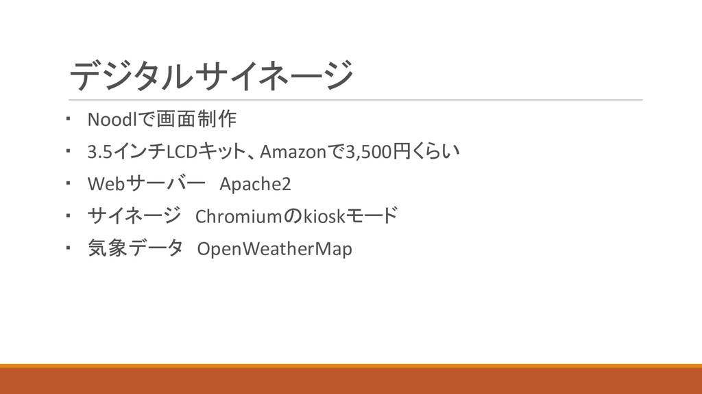 デジタルサイネージ ・ Noodlで画面制作 ・ 3.5インチLCDキット、Amazonで3,...