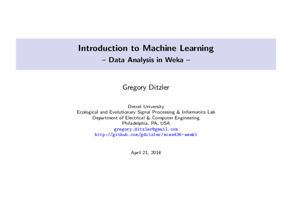 Introduction to Machine Learning – Data Analysi...