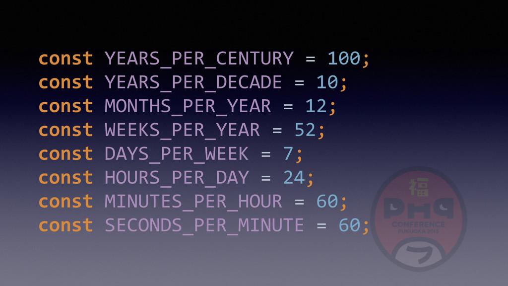 const YEARS_PER_CENTURY = 100; const...