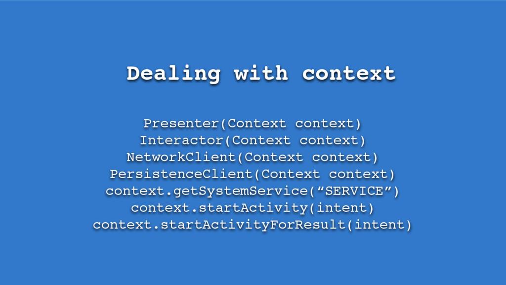 Dealing with context Presenter(Context context)...