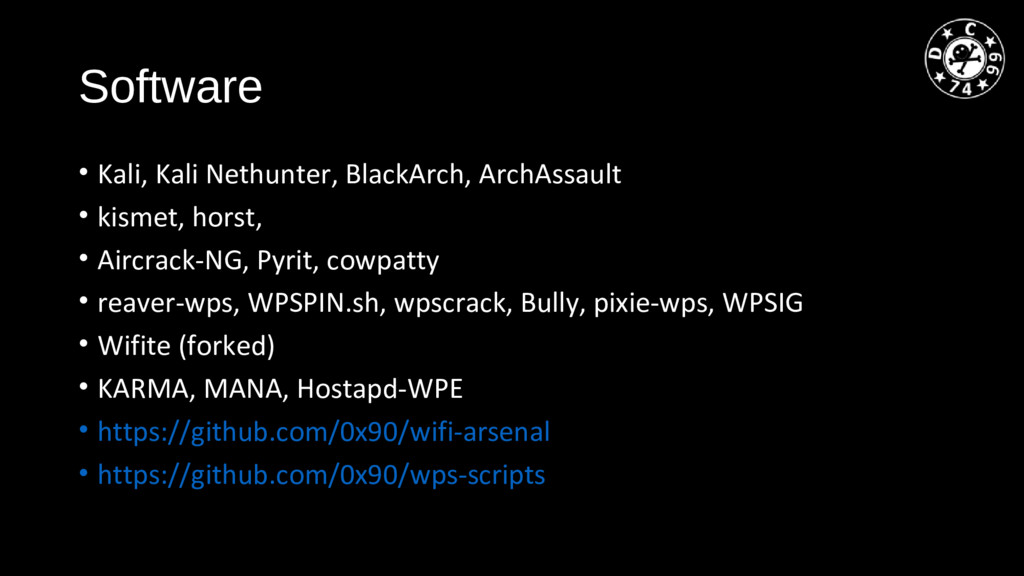 Software • Kali, Kali Nethunter, BlackArch, Arc...
