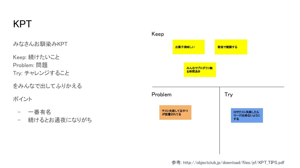 KPT Keep Problem Try みなさんお馴染みKPT  Keep: 続け...