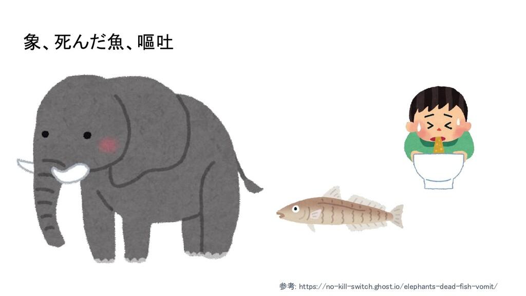象、死んだ魚、嘔吐 参考: https://no-kill-switch.ghost.io/...