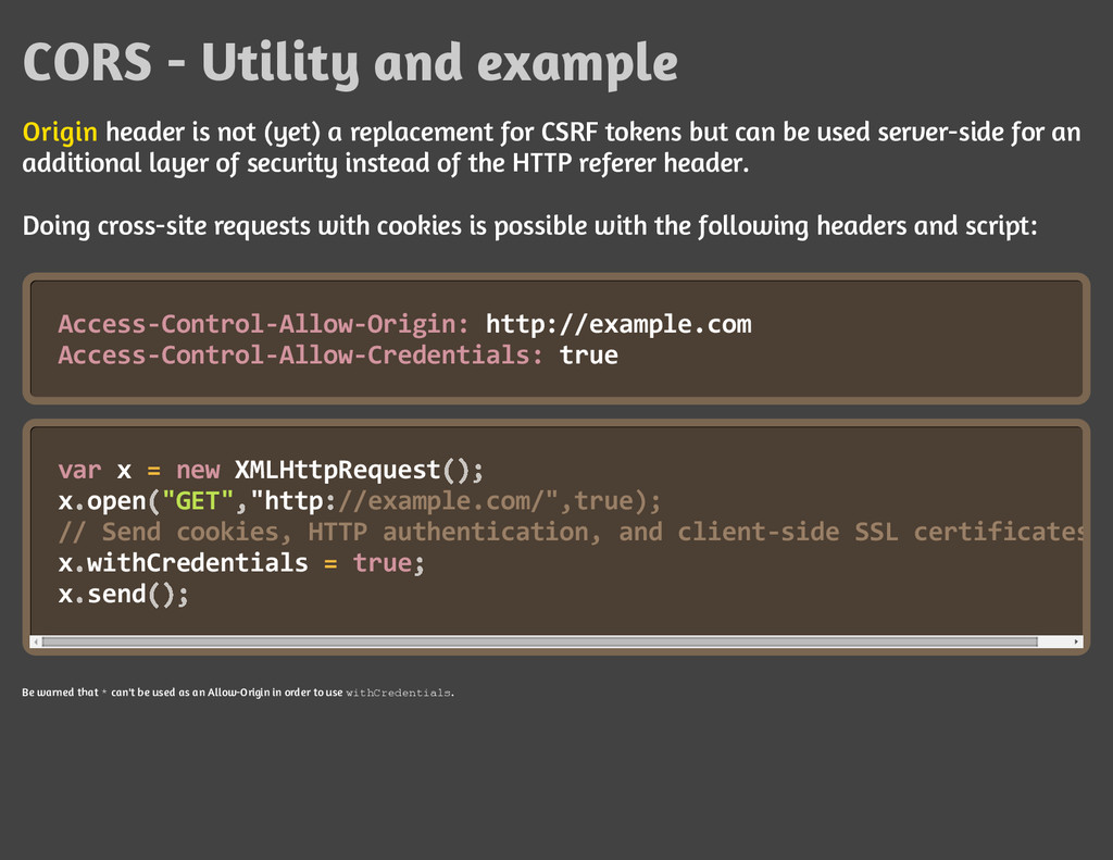 CORS - Utility and example Origin header is not...