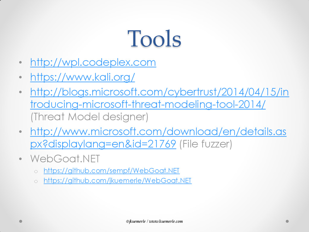 @jkuemerle / www.kuemerle.com Tools • http://wp...