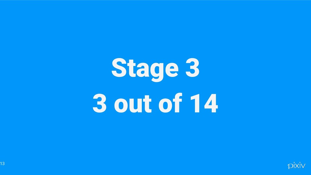 Stage 3 3 out of 14 13