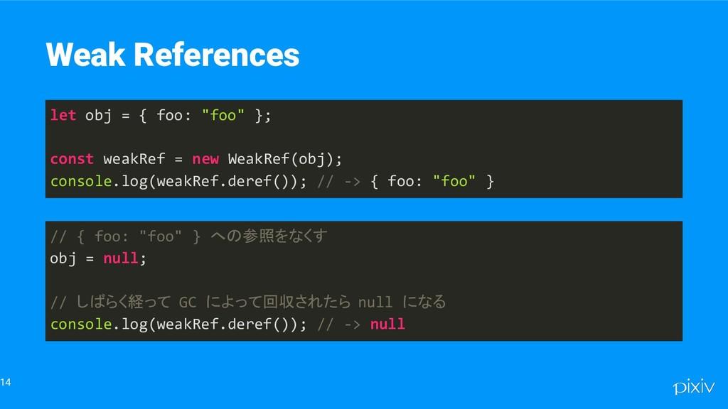 "14 Weak References let obj = { foo: ""foo"" }; co..."
