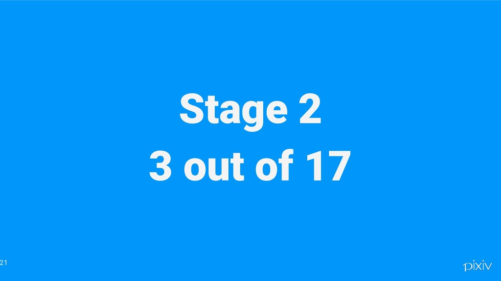 Stage 2 3 out of 17 21