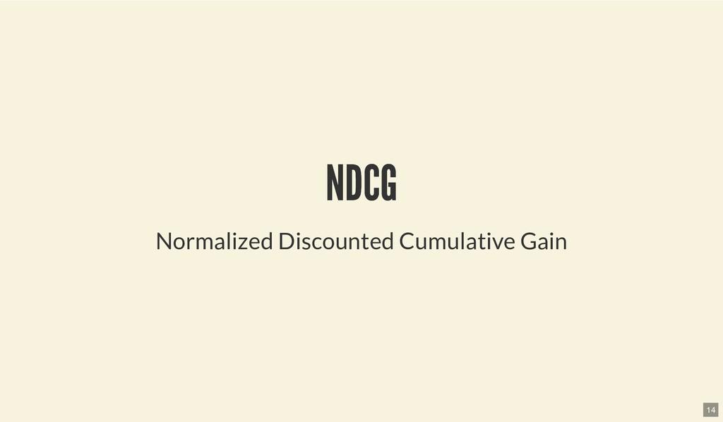 NDCG NDCG Normalized Discounted Cumulative Gain...