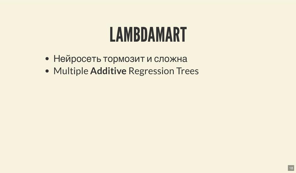 LAMBDAMART LAMBDAMART Нейросеть тормозит и слож...