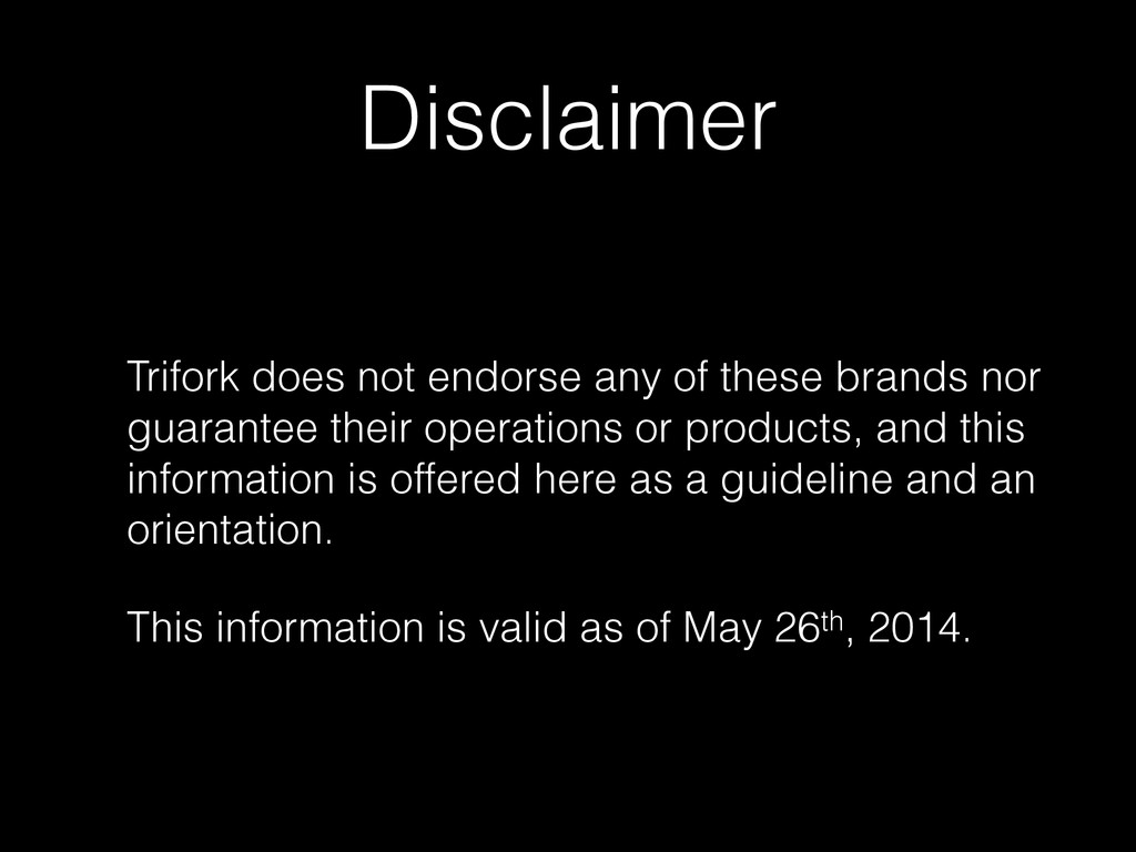 Disclaimer Trifork does not endorse any of thes...